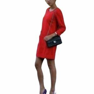 J. Crew Jules Wool Shift Dress in Red 3/4 Sleeve